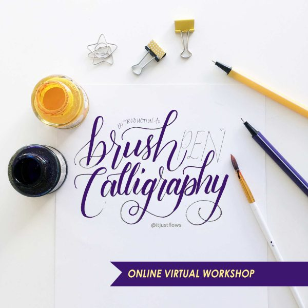 Brush Calligraphy Course title in script style lettering with calligraphy supplies on a desk