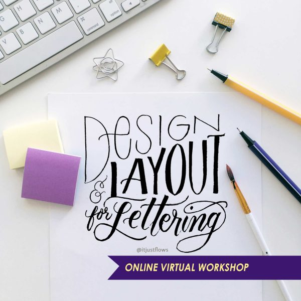 Design Layout for Calligraphy Course title in script style lettering with calligraphy supplies on a desk