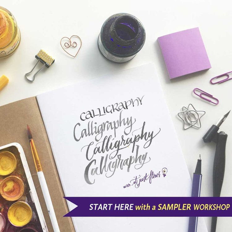 Introductory Calligraphy Course title in script style lettering with calligraphy supplies on a desk